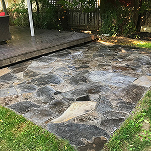Kick Gas Lawn Care provides landscaping services like stone patios and walkway installations throughout Mississauga.